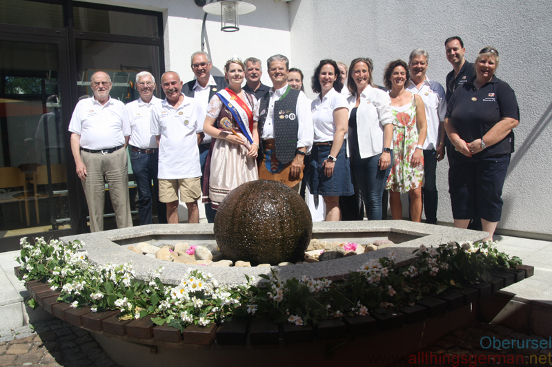 Previous Fountain Queens with their Brunnenmeisters at the St.Crutzen Fountain on Saturday, 26th May, 2018.