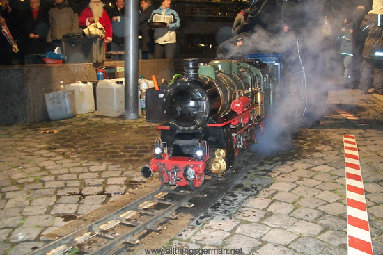 A steam train giving rides at the Oberursel Christmas Market 2011