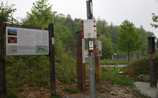 Old and new signs at the start of the Celtic Trail at the Hohemark in Oberursel