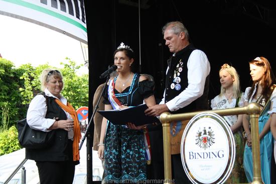 The Brunnenkönigin (Fountain Queen) - Vanessa I. - making her speech at the opening of the Brunnenfest (Fountain Festival) 2012 in Oberursel