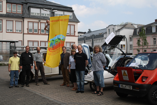 Electric vehicles preparing for their journey from Oberursel to the Hessentag in Wetzlar